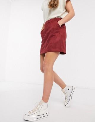 Vero Moda faux suede mini skirt in red
