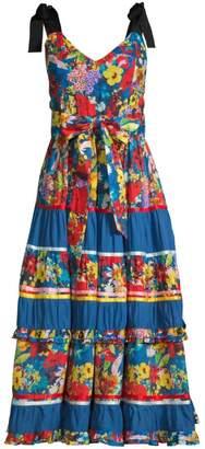 Alice + Olivia Gayla Floral Tiered A-Line Midi Dress