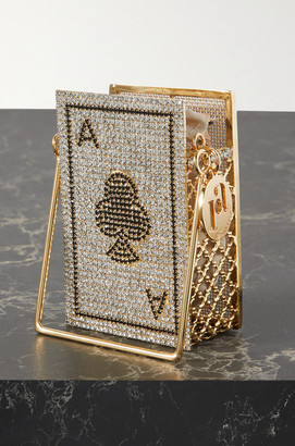 Rosantica Ace Of Clubs Embellished Gold-tone Shoulder Bag - Silver