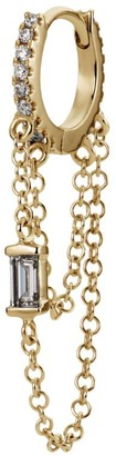 Maria Tash Diamond Eternity Hoop Earring with Baguette Diamond and Two Chains (6.5mm)