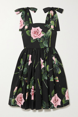 Dolce & Gabbana Tie-detailed Floral-print Cotton-poplin Dress - Black