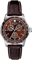 Nautica Men's Stainless Steel Brown Leather Strap Analog Watch
