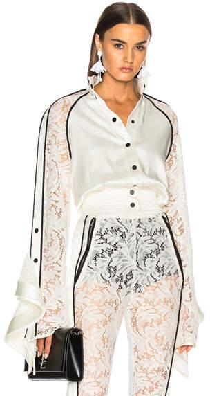 David Koma Lace Sleeve Ruffle Jacket