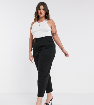 Asos DESIGN Curve belted peg pants with tortoiseshell buckle in black