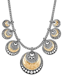 John Hardy Hammered 18K Gold & Sterling Silver Dotted Statement Necklace, 16 with 2 extender