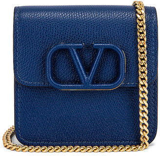 Valentino Small VSling Wallet on Chain Bag in Blu Delft | FWRD