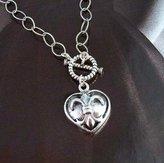 """Sosi B. Sterling Silver """"Francia II"""" Fleur-de-lis Heart Necklace, 17"""""""