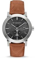Burberry Men's Leather Band Steel Case Swiss Quartz Grey Dial Analog Watch BU9905