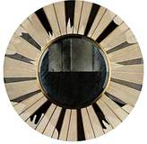 R & Y Augousti Sunburst Sunlight Shagreen & Pen Shell Large Round Wall Mirror