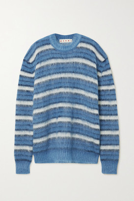 Marni Striped Brushed Mohair-blend Sweater - Blue