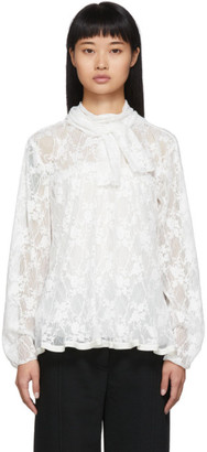 See by Chloe White Pleated Lace Blouse