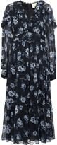 Kate Spade Gathered Floral-print Fil Coupe Silk-chiffon Midi Dress