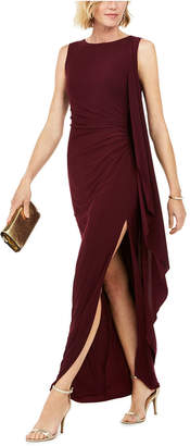 Betsy & Adam Ruched Cape Gown