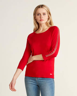 Calvin Klein Stud Trim Three-Quarter Sleeve Sweater