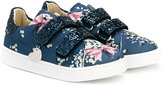 MonnaLisa bow print touch strap sneakers