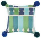 The Well Appointed House Blue Ines Embroidered Pillow With Pom Poms - LOW STOCK, ORDER NOW!