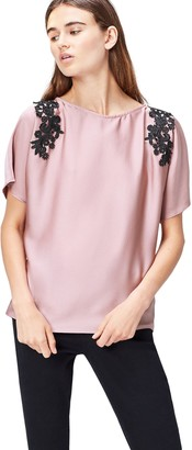 Find. Women's Blouse Satin with Lace Applique Shoulder and Short Sleeve