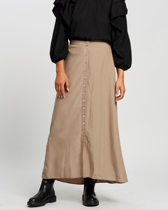Mng Women's Neutrals Midi Skirts - Tencel Skirt - Size S at The Iconic
