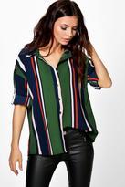 Boohoo Freya Mixed Stripe Oversized Shirt