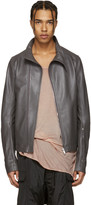 Rick Owens Grey Leather Molinos Biker Jacket