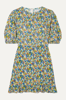 Faithfull The Brand Jeanette Floral-print Crepe Mini Dress - Light blue