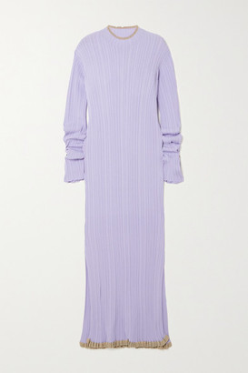 HOLZWEILER Hadeland Ruffled Two-tone Ribbed-knit Midi Dress - Lilac