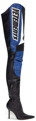 Vetements Logo-applique Over-the-knee Leather Boots - Womens - Multi