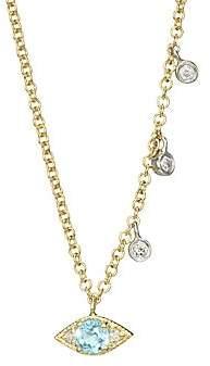 Meira T Women's 14K Two-Tone Gold, Blue Topaz & Diamond Evil Eye Pendant Necklace