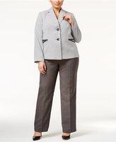 Le Suit Plus Size Two-Button Houndstooth Jacket Pantsuit