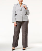 Le Suit Plus Size Two-Button Houndstooth Pantsuit