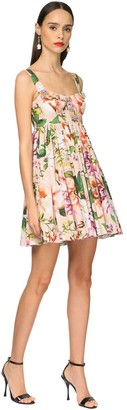 Dolce & Gabbana Flower Print Cotton Poplin Mini Dress
