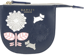 Radley Folk Floral Leather Small Coin Purse, Navy