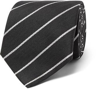 The Row 7.5cm Alain Striped Herringbone Silk Tie