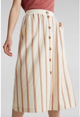 Esprit Striped Cotton/Linen Buttoned Midi Skirt