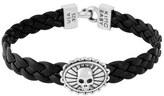 King Baby Studio Men's Braided Leather Skull Bracelet
