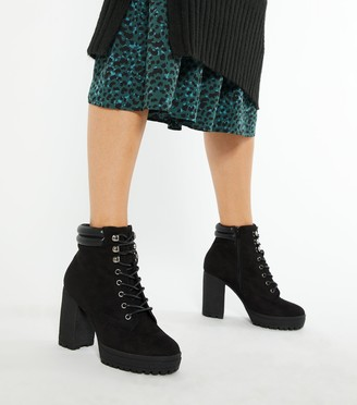 New Look Wide Fit Suedette Lace Up Block Heel Boots