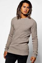 boohoo Mens Muscle Fit Contrast Stitch Knitted Jumper in Taupe size Xl