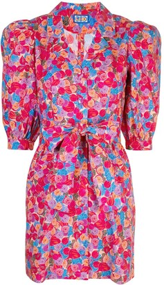 Lhd Floral Print Belted Shirt Dress
