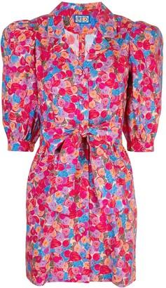 Lhd Floral Print Belted Shirt Dress