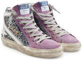Golden Goose Deluxe Brand Slide High-Top Sneakers with Leather and Suede