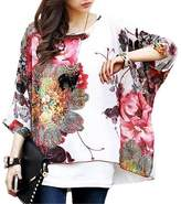 Pinkyee Floral Batwing Sleeve Beach Loose Blouse Tunic Top