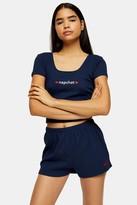 Topshop Navy Nap Chat Ribbed Pajama Set