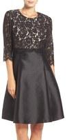 Eliza J Mixed Media Popover Fit & Flare Dress (Regular & Petite)