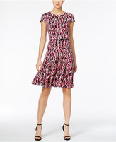 Jessica Howard Belted Printed Fit and Flare Dress