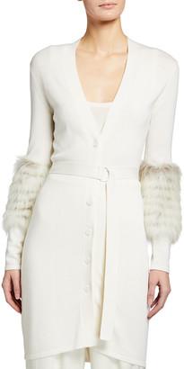 Sally LaPointe Merino Silk Cashmere Long Cardigan w/ Fox Fur
