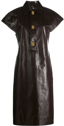 Bottega Veneta Sculpted Shoulder Shirt Dress