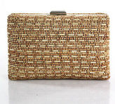 Moyna Beige Canvas Wooden Beaded Clutch Handbag