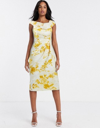 ASOS DESIGN drape fallen shoulder midi pencil dress in mustard floral print