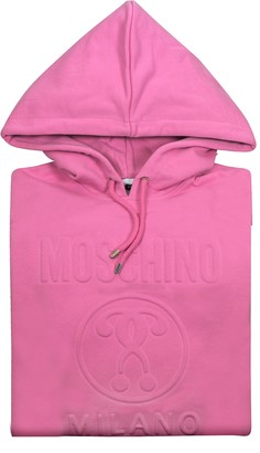 Moschino Candy Pink Signature Cotton Hooded Long Sweater
