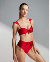 Express ruffle strap shimmer bikini top